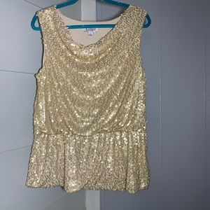 Clues Collections Gold Sequin Top L